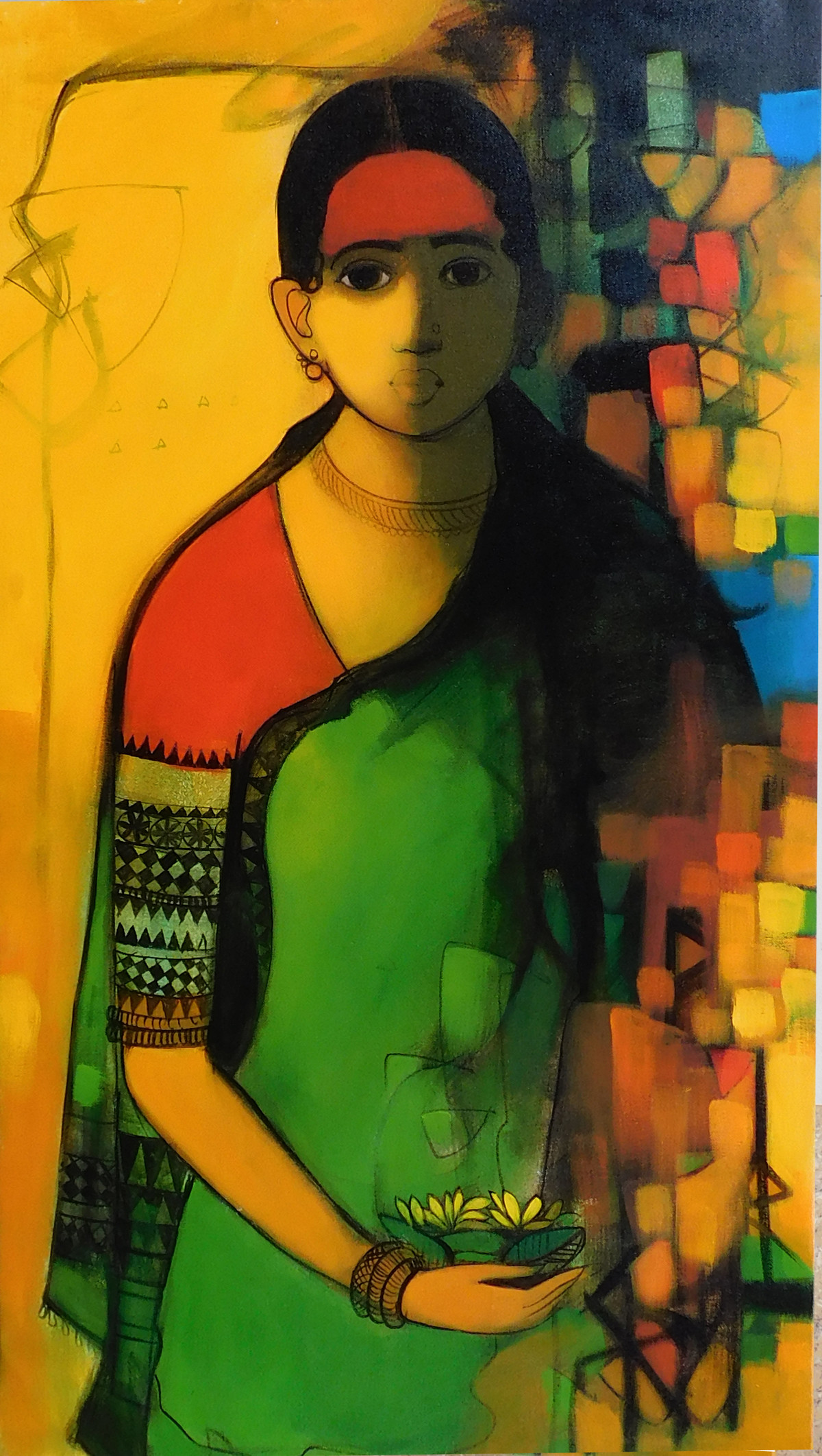 women by Sachin Sagare, Expressionism Painting, Acrylic on Canvas, White color