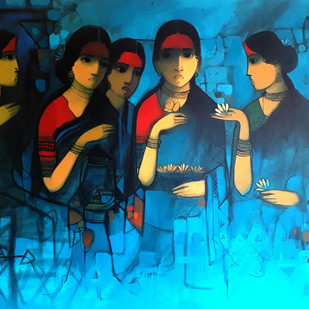 story of yesterday by Sachin Sagare, Expressionism Painting, Acrylic on Canvas, Blue color