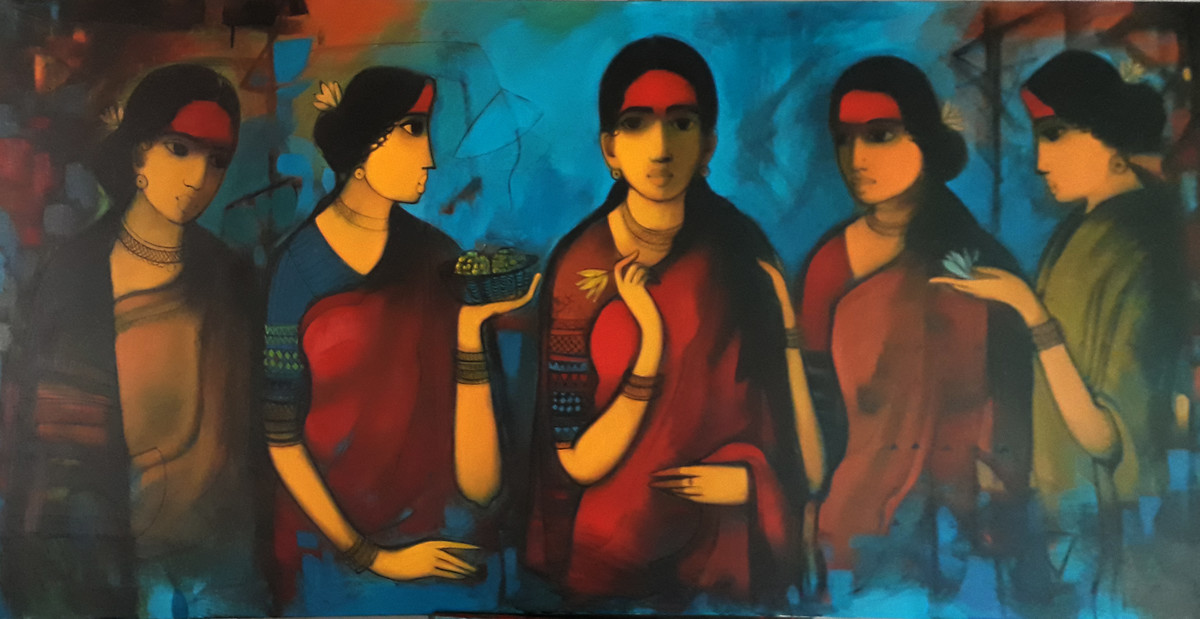untitled by Sachin Sagare, Expressionism Painting, Acrylic on Canvas, Blue color