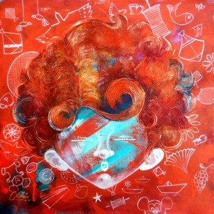 the Innosence v by shiv kumar soni, Expressionism Painting, Mixed Media on Canvas, Red color