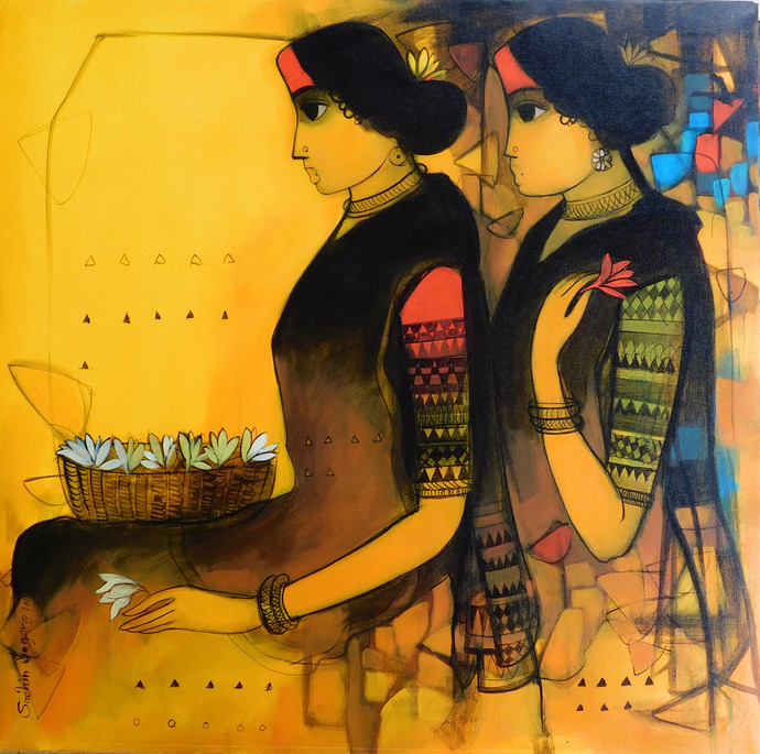 Golden light by Sachin Sagare, Expressionism Painting, Acrylic on Canvas, Brown color