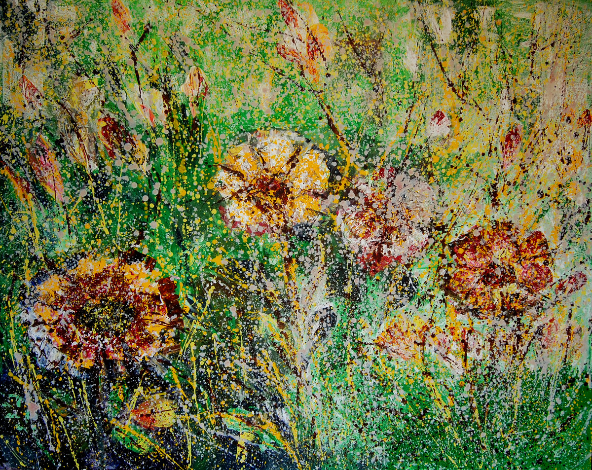 BLOOM OF LIFE by Chandana khan, Abstract Painting, Mixed Media on Canvas, Green color