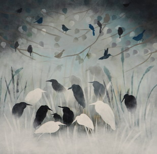winter song by Priyanka Waghela, Impressionism Painting, Acrylic on Canvas, Gray color