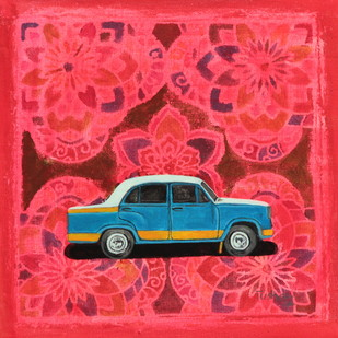 allegory of rice route - taxi by Tushar Waghela, Pop Art Painting, Acrylic on Canvas, Red color