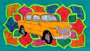 Yellow king of Rice route Digital Print by Tushar Waghela,Pop Art