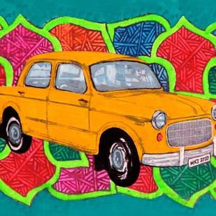Yellow king of Rice route by Tushar Waghela, Pop Art Painting, Acrylic on Canvas, Green color