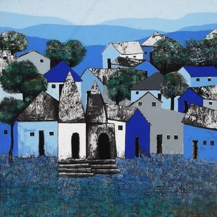 Village 45 by Nagesh Ghodke, Geometrical Painting, Acrylic on Canvas, Blue color