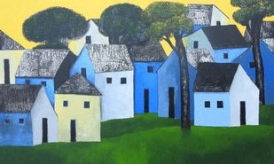 Village 67 by Nagesh Ghodke, Geometrical Painting, Acrylic on Canvas, Green color