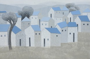 Village 69 by Nagesh Ghodke, Geometrical Painting, Acrylic on Canvas, Gray color