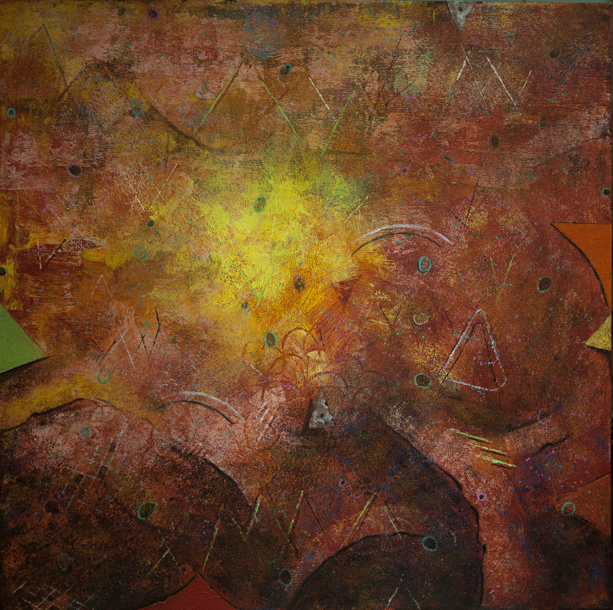 Acrylic on Canvas by Ajay Narayan, Abstract Painting, Acrylic on Canvas, Brown color