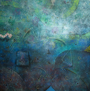 Acrylic on Canvas by Ajay Narayan, Abstract Painting, Acrylic on Canvas, Green color