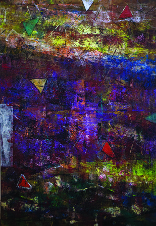 Acrylic on Canvas by Ajay Narayan, Abstract Painting, Acrylic on Canvas, Blue color