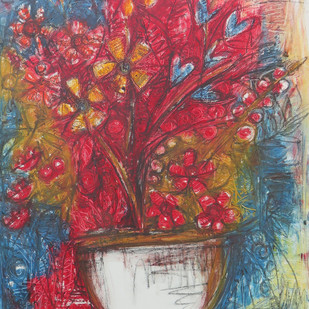 STILL LIFE - 1 by Chandana khan, Abstract Painting, Mixed Media on Canvas, Brown color