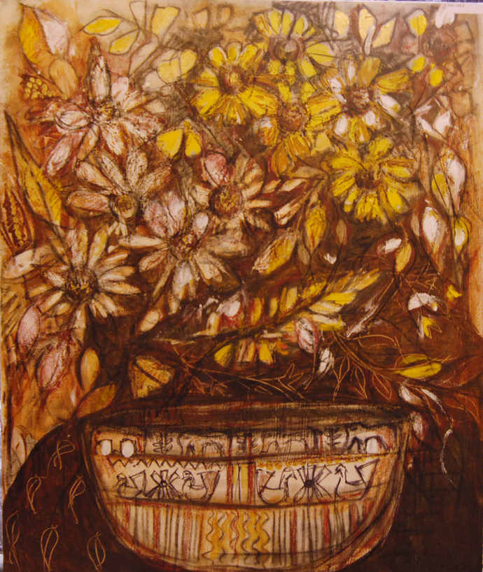 STILL LIFE - 2 by Chandana khan, Impressionism Painting, Mixed Media on Canvas, Brown color