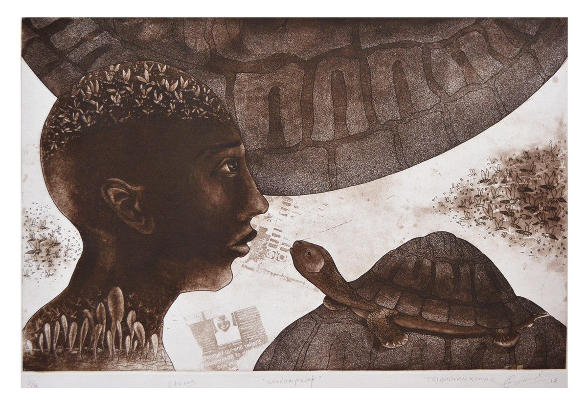 wisdom proff by Tribhuvan Kumar, Expressionism Printmaking, Etching and Aquatint, Brown color