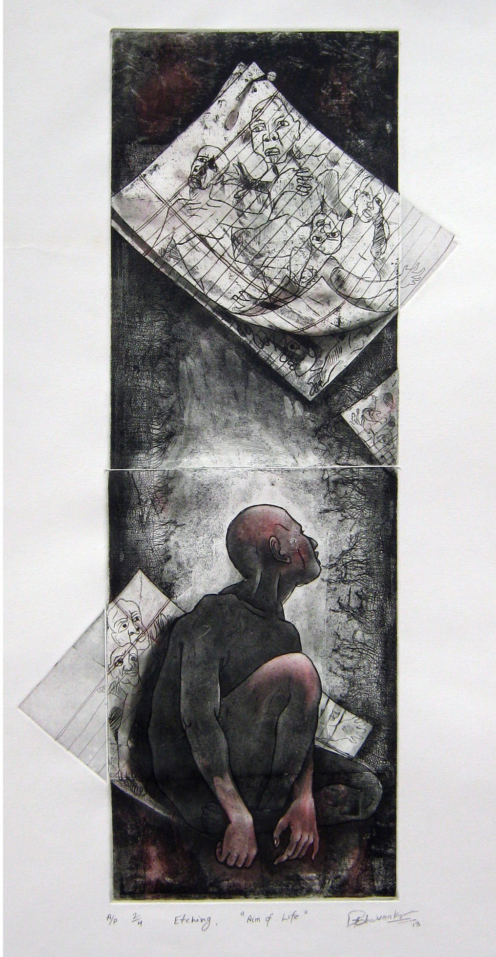 aim of life by Tribhuvan Kumar, Expressionism Printmaking, Etching and Aquatint, Gray color