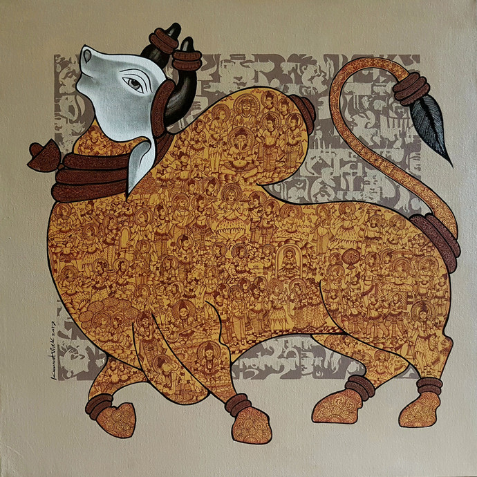 Nandi by Vivek Kumavat, Expressionism Painting, Acrylic on Canvas, Brown color
