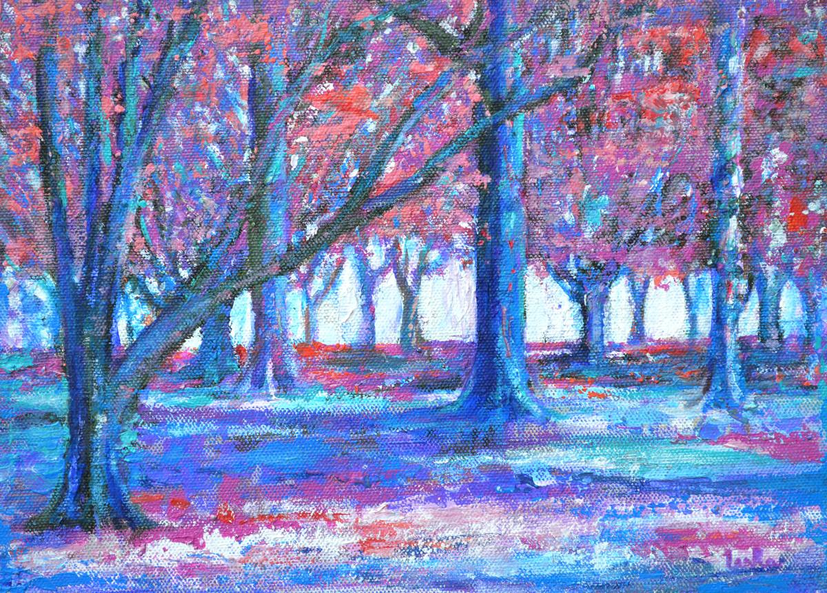 Colors of Eve by Usha Shantharam, Impressionism Painting, Acrylic on Canvas, Blue color