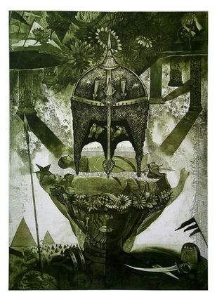 DESTINATION by Rabi Narayan Gupta, Expressionism Printmaking, Etching and Aquatint, Green color