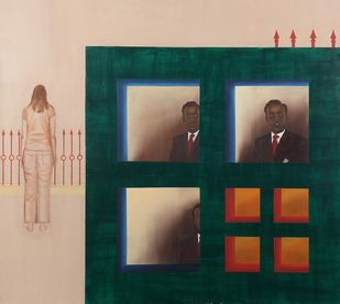 .Are you there?? by Nivedita Pande, Geometrical Painting, Oil on Canvas, Green color