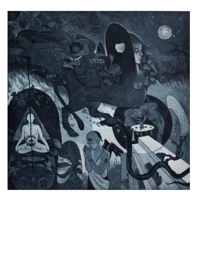 STAIRS TO HEAVEN by Rabi Narayan Gupta, Impressionism Printmaking, Etching and Aquatint, Green color
