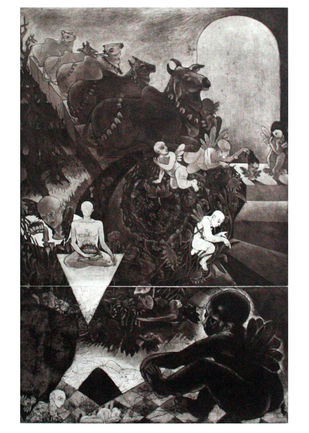 INNOCENT DREAM by Rabi Narayan Gupta, Printmaking, Etching on Paper, Gray color
