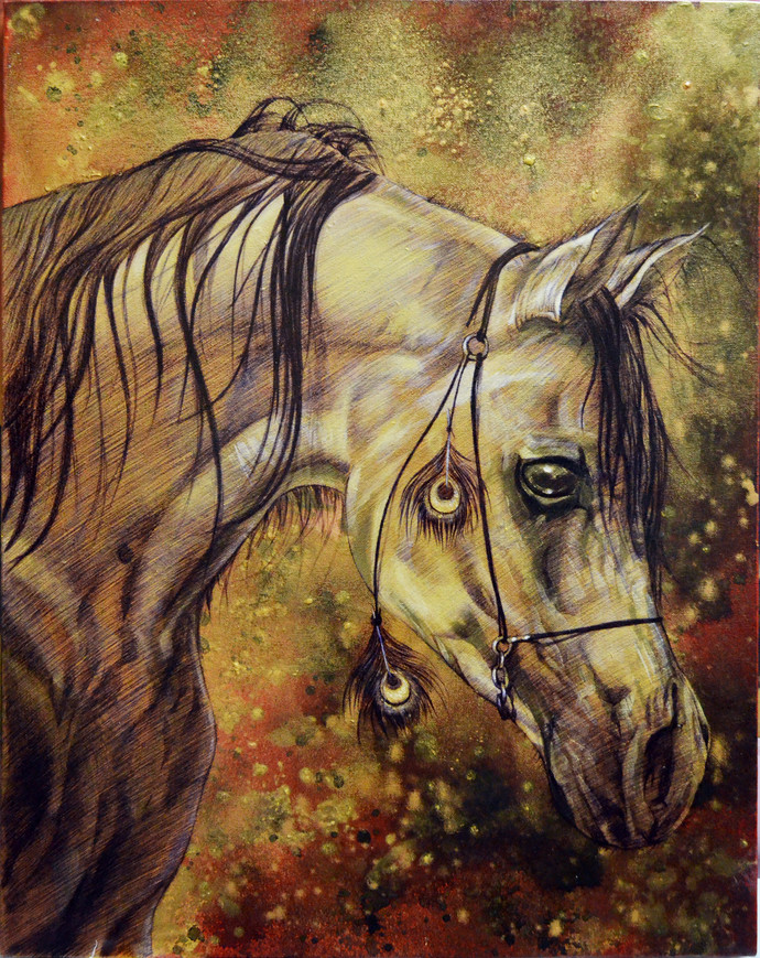 Luck by Kunal Jain, Expressionism Painting, Acrylic & Ink on Canvas, Brown color