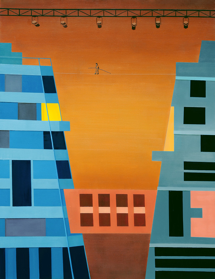 Counterpoise by Nivedita Pande, Geometrical Painting, Oil on Canvas, Brown color
