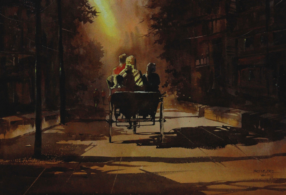 Back to Home by Mopasang Valath, Impressionism Painting, Watercolor on Paper, Brown color
