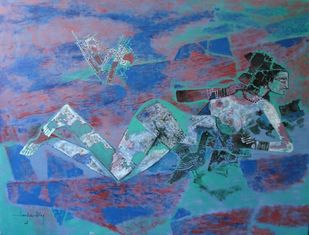 Untitled by A P Santhanaraj, Expressionism Painting, Oil on Canvas, Blue color
