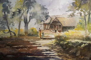 Ammachi Bunglow, the monument by Mopasang Valath, Impressionism Painting, Watercolor on Paper, Brown color