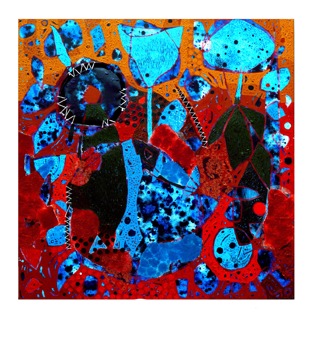 Untitled-E by Pankaj Kumar Singh, Abstract Painting, Mixed Media on Canvas, Blue color