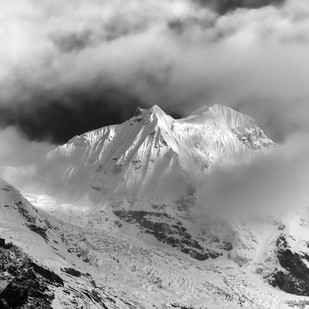 Himalayas of Sikkim by Jayanta Roy, Image Photography, Digital Print on Archival Paper, Gray color