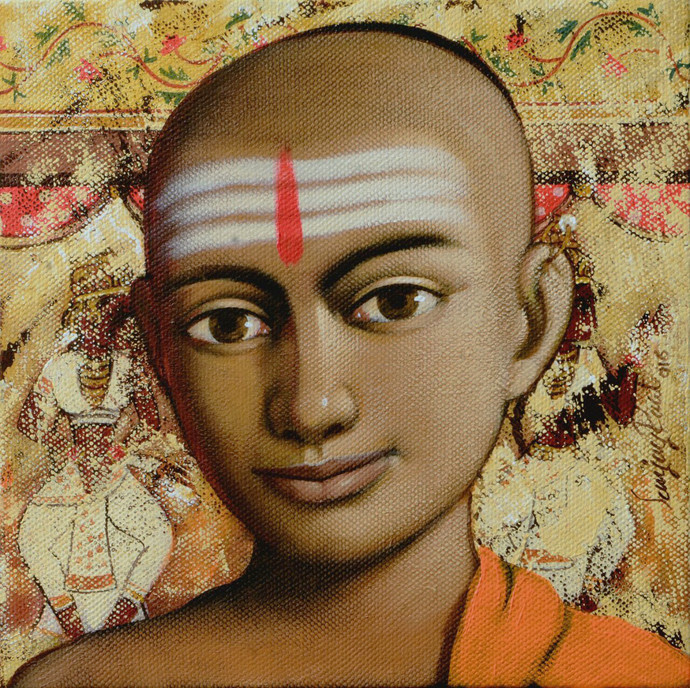 Pandit by Sanjay N Raut, Expressionism Painting, Acrylic on Canvas, Brown color