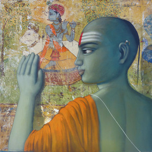 Pandit by Sanjay N Raut, Expressionism Painting, Acrylic on Canvas, Beige color