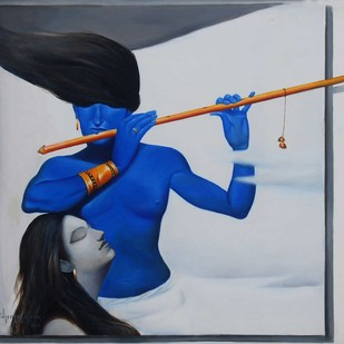 Duet by Wasim R Kapoor, Expressionism Painting, Oil on Canvas, Gray color