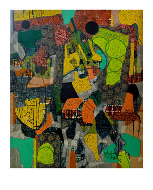 Untitled-K by Pankaj Kumar Singh, Abstract Painting, Mixed Media on Canvas, Green color