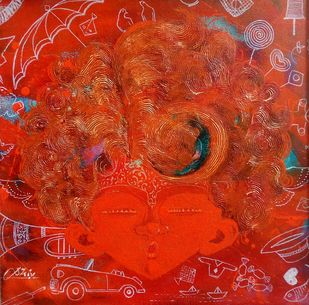 The Innosence vi by shiv kumar soni, Expressionism Painting, Oil & Acrylic on Canvas, Red color