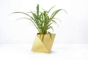 Octahedron Brass Planter - Small Decorative Vase By Deniable Studio