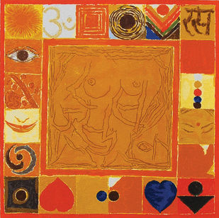 Rasa by S H Raza, Geometrical Printmaking, Serigraph on Paper, Orange color