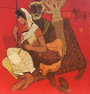 Untitle by Siddharth Shingade, Expressionism Painting, Acrylic on Canvas, Brown color