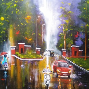 Rainy Day # 8 by Arjun das, Impressionism Painting, Acrylic on Canvas, Brown color