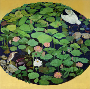 Lotus Pond by Elan Cheziyan, Expressionism Painting, Oil on Canvas, Green color