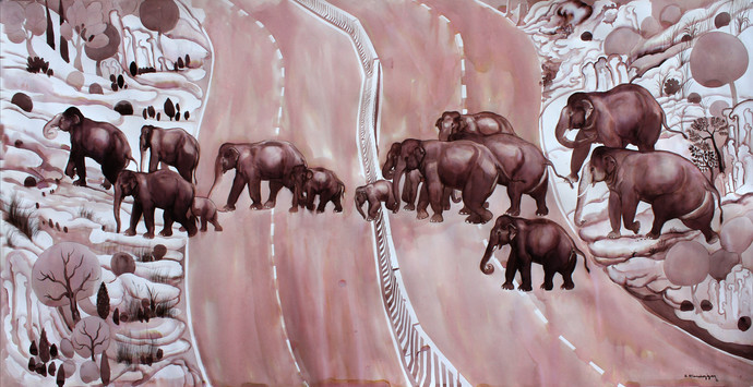 Migration by Elan Cheziyan, Expressionism Drawing, Ink and brush on paper board, Brown color