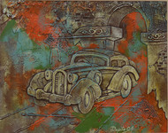 Vintage car [nostalgia series] by Dipto Narayan Chattopadhyay, Expressionism Painting, Mixed Media on Board, Brown color