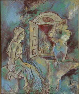 Open window by Dipto Narayan Chattopadhyay, Expressionism Painting, Mixed Media on Board, Brown color