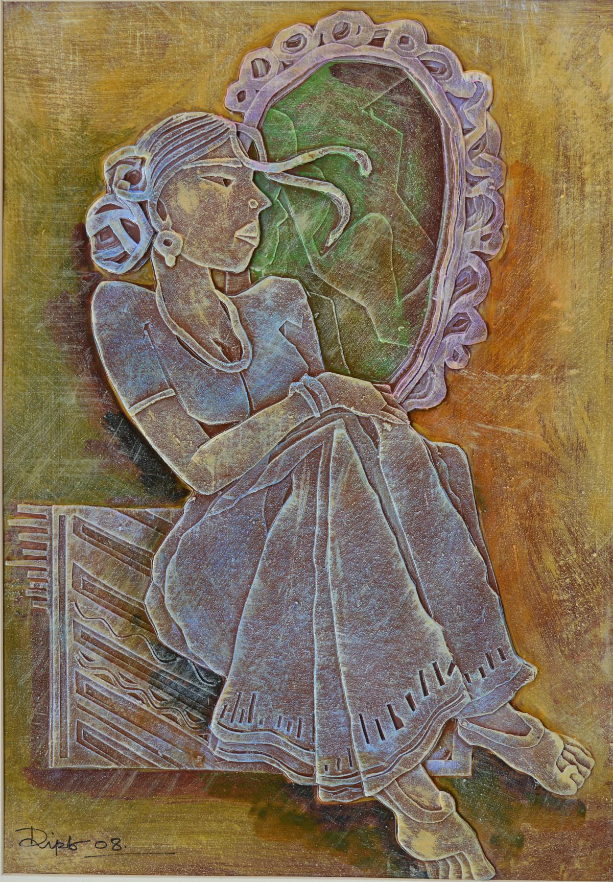 Mirror by Dipto Narayan Chattopadhyay, Expressionism Painting, Mixed Media on Board, Brown color