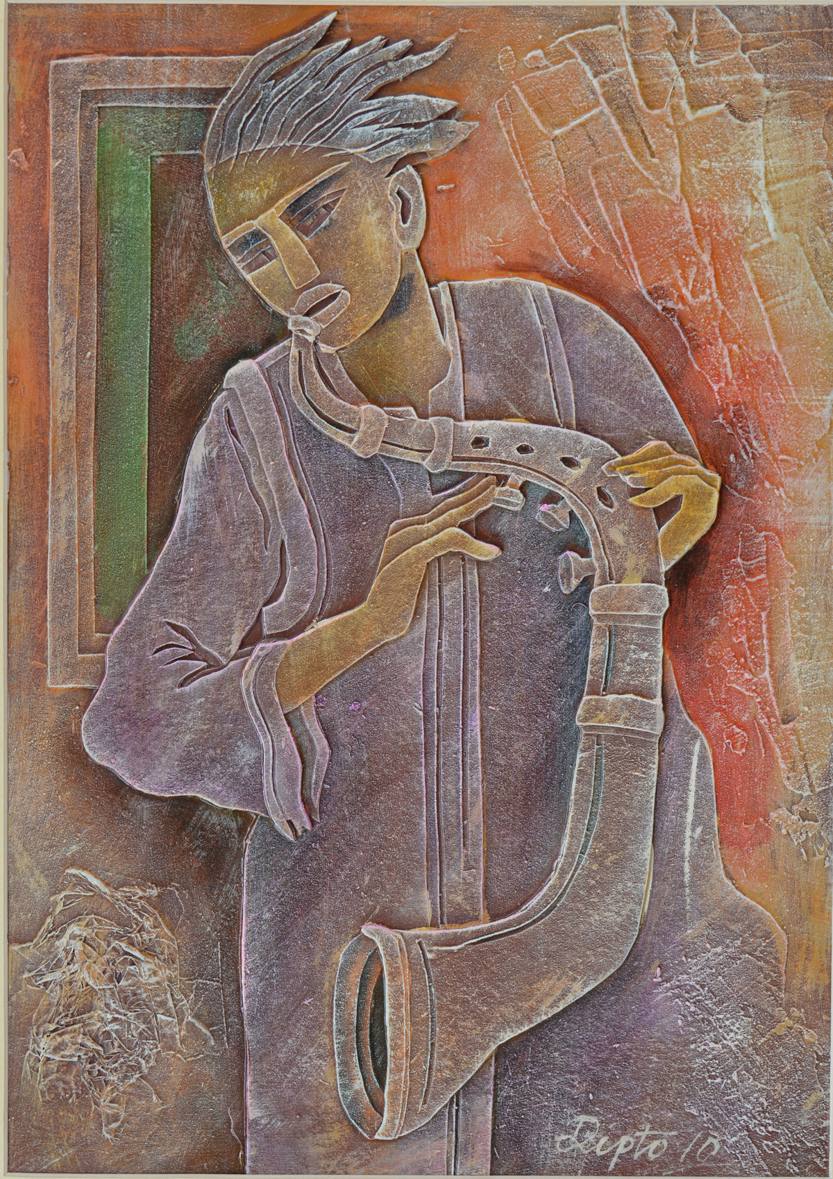 Musician by Dipto Narayan Chattopadhyay, Expressionism Painting, Mixed Media on Board, Brown color