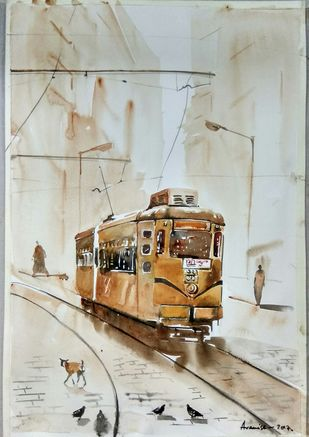 Calcutta Nostalgia by Avanish Trivedi, Impressionism Painting, Watercolor on Paper, Gray color