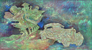 Vintage car [Nostalgia series] by Dipto Narayan Chattopadhyay, Expressionism Painting, Mixed Media on Canvas, Green color